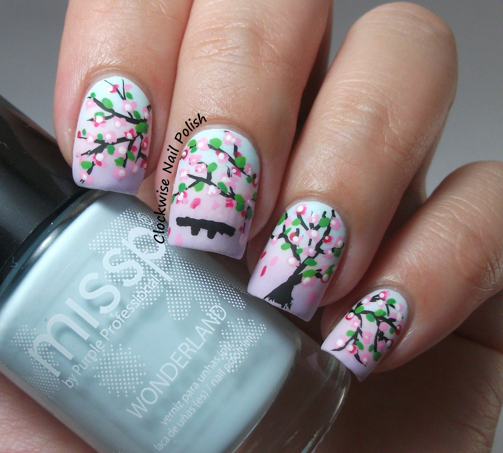 The Clockwise Nail Polish: Missp 10 Hope & Cherry Blossoms nail art ...