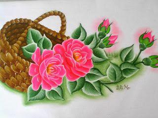 Cesto com rosas rosas!, pintura