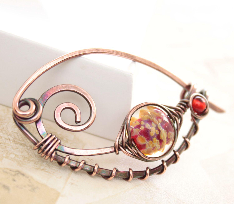 Shawl pin, scarf pin in swirly ornate shape with lampwork glass bead ...