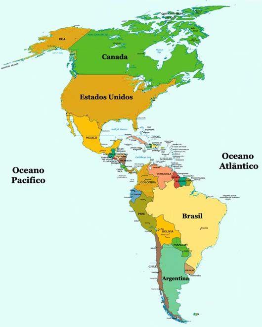 mapa da america Mapa da América | Avellar | Pinterest | Geography mapa da america