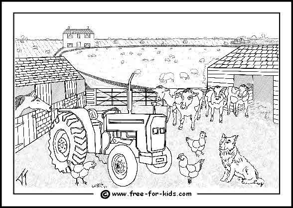 Farm Scene Coloring Pages for Kids | Drawing Templates for Sewing ...