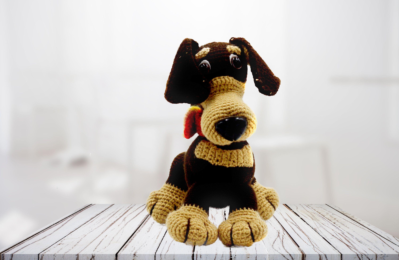 Cute handmade dog Crochet dog toy Crocheted toys Stuffed animal Home decor Handmade toys Positive gift Handmade dog toy Animal funny dog