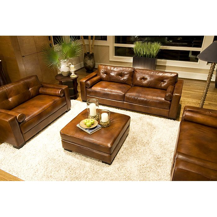 Soho 4 Piece Rustic Brown Leather Sofa Set W Oversized Chairs Dcg Stores Rustic Living Room Furniture Living Room Sets Furniture Leather Sofa Set