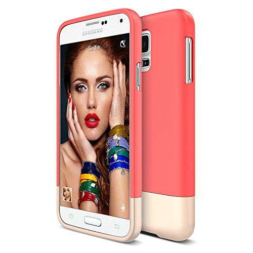 Galaxy S5 Case, Maxboost® [Vibrance Series][Lifetime Warranty] Protective SOFT-Interior Scratch Protection with Vibrant Color[Slider Style] Cover for Samsung Galaxy S5 -Italian Rose/Champagne Gold