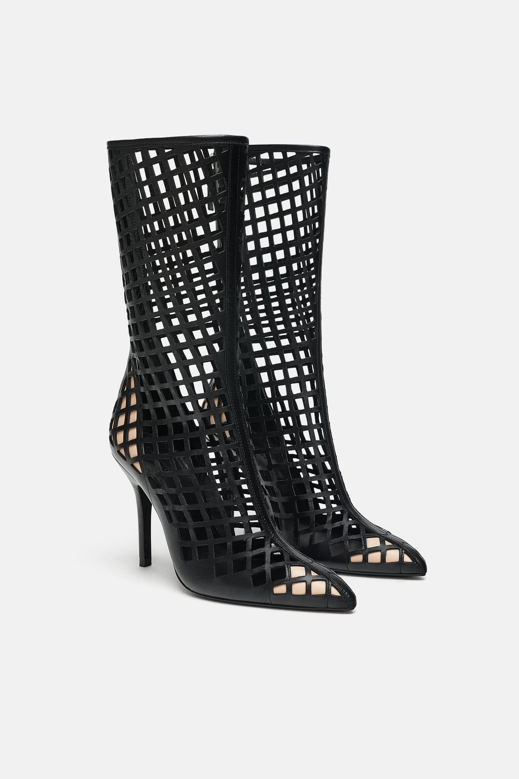 1c47444e179bb Image 3 of OPENWORK LEATHER HIGH HEELED BOOTS from Zara