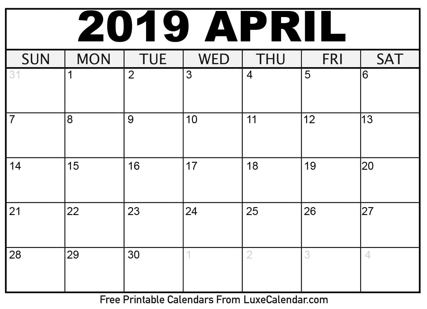 April Calendar 2020 Printable Template Free Download Printable