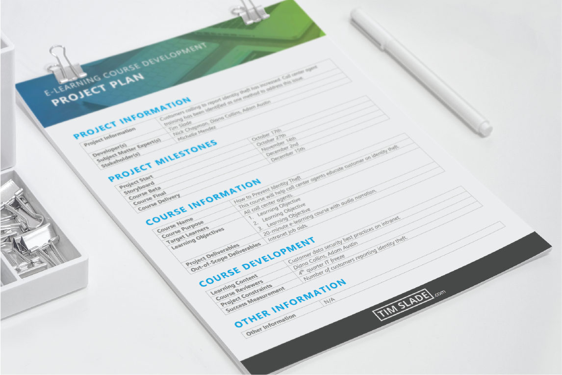 Elearning Project Plan Template Instructional Design Elearning How To Plan