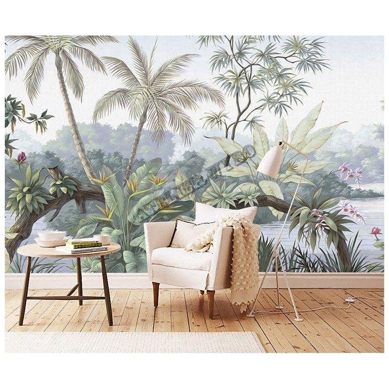 paon bleu dans jardin tropical avec fleurs et oiseaux. Black Bedroom Furniture Sets. Home Design Ideas