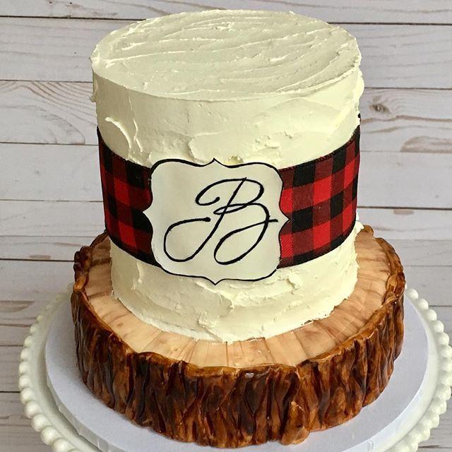 Buffalo Plaid Cake With Rustic Buttercream Rustic Baby Shower Cake Plaid Cake Buffalo Plaid Baby Shower