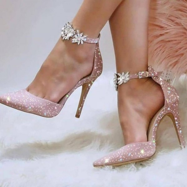 Women Sandals New Design Sequin Match Color Rhinestone Ankle Flat Fuax Suede