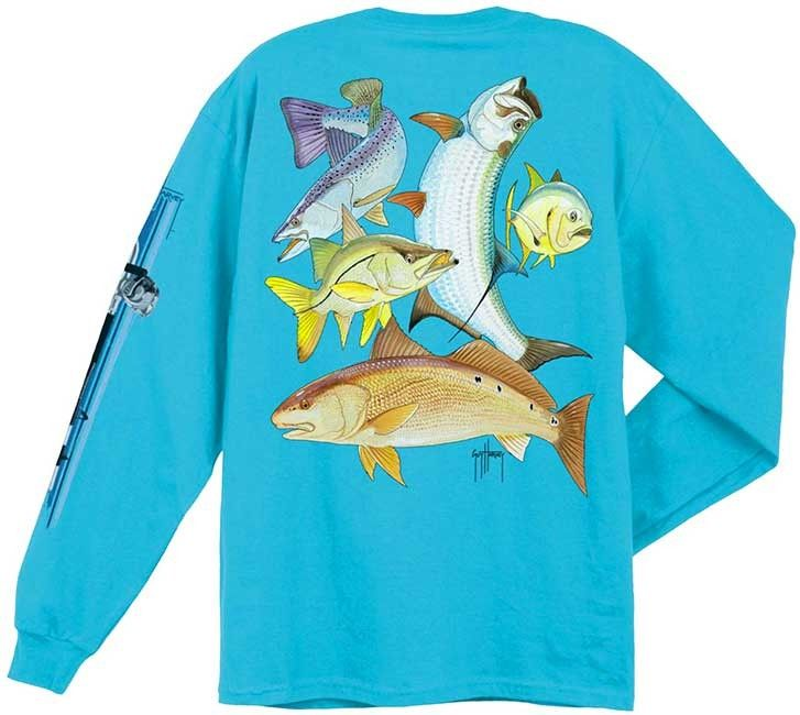 70704552d Guy Harvey Shirts - Guy Harvey Inshore Collage Back-Print Long Sleeve Tee  in Aqua