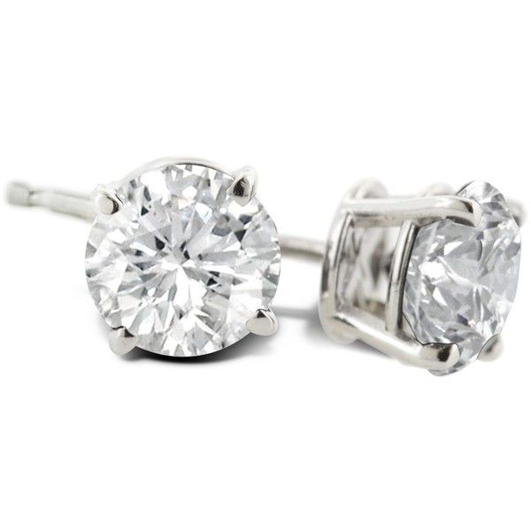 1 Carat Diamond Stud Earrings In Platinum 944 Liked On Polyvore Featuring Jewelry Round White Jewellery
