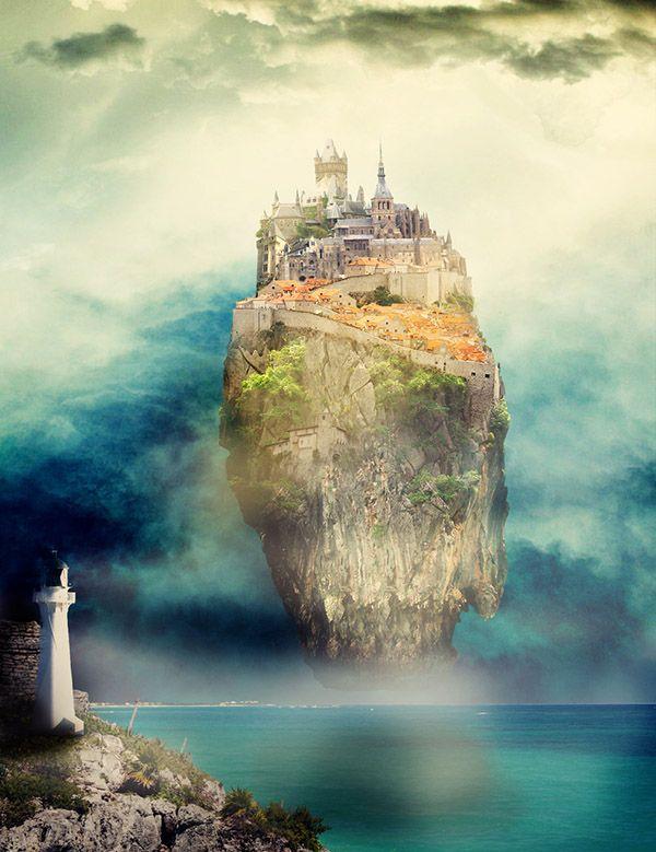"""Montaje fotográfico inspirado en la isla de Laputa de """"Los viajes de Gulliver""""."""