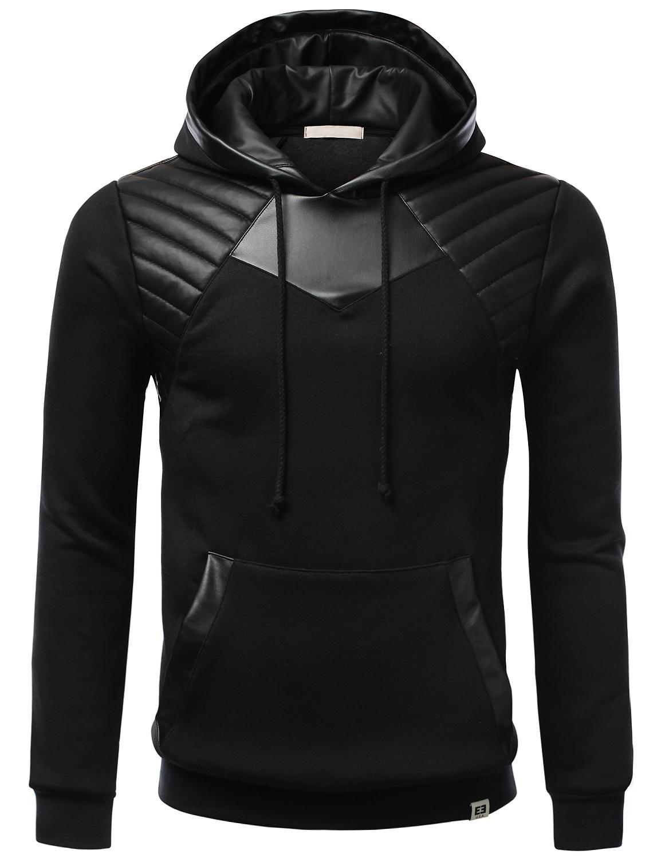 SMITHJAY Leather Padding Fleece Hoodie Armor Sweatshirt