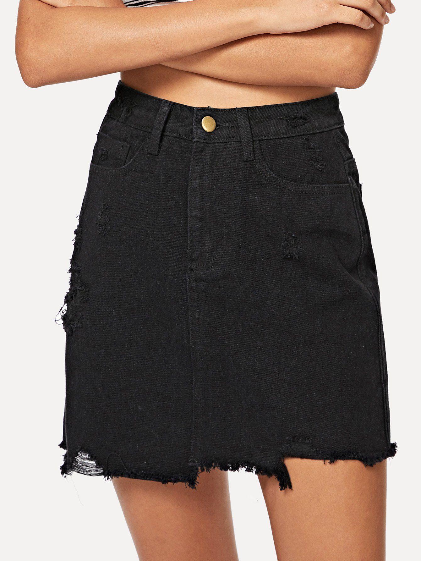 97d31ed0d6 Pocket Patched Raw Hem Black Denim Skirt FREE SHIP