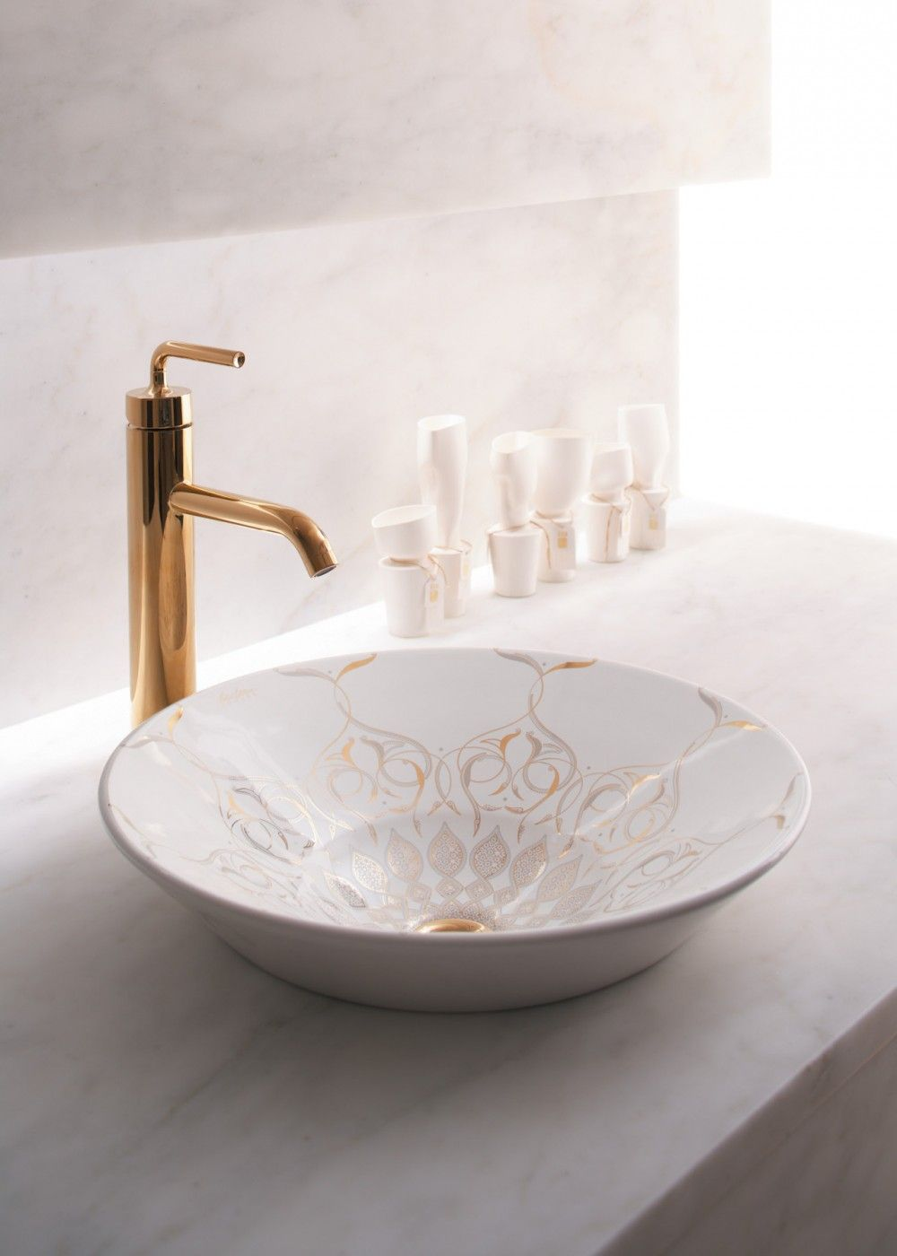 Kohler Artists Edition basins with Kohler Purist PVD rose gold ...