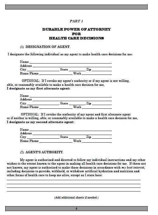 power of attorney form for health  Power Of Attorney Form Free Printable | Power of attorney ...