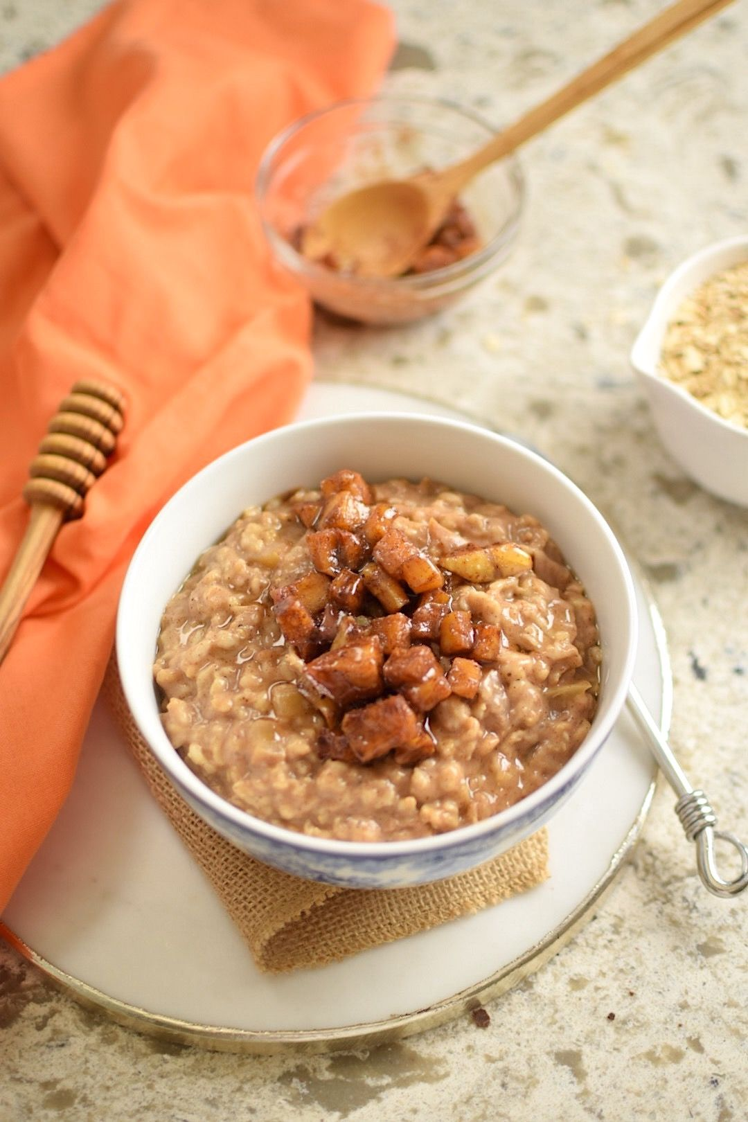 Caramelized apple glutenfree rolled oats recipe with