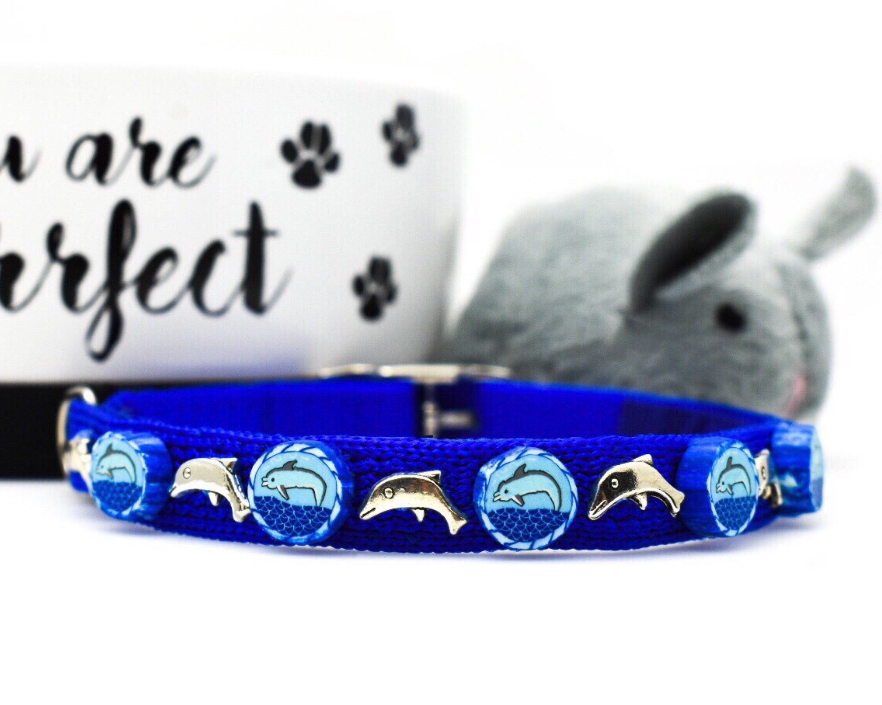 Blue Dolphin Whimsical Cat Collar Etsy Cat Collars Whimsical Cats Kitten Collars