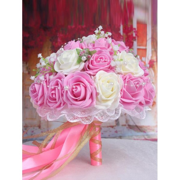24.52$  Buy now - http://diugw.justgood.pw/go.php?t=207020603 - Faux Pearl Chain Artificial Rose Wedding Bouquets 24.52$