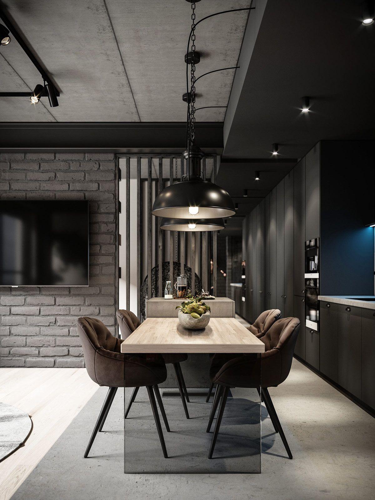 Grey Modern Industrial Apartment Interiors Industrial Apartment Decor Apartment Interior Grey Dining Room