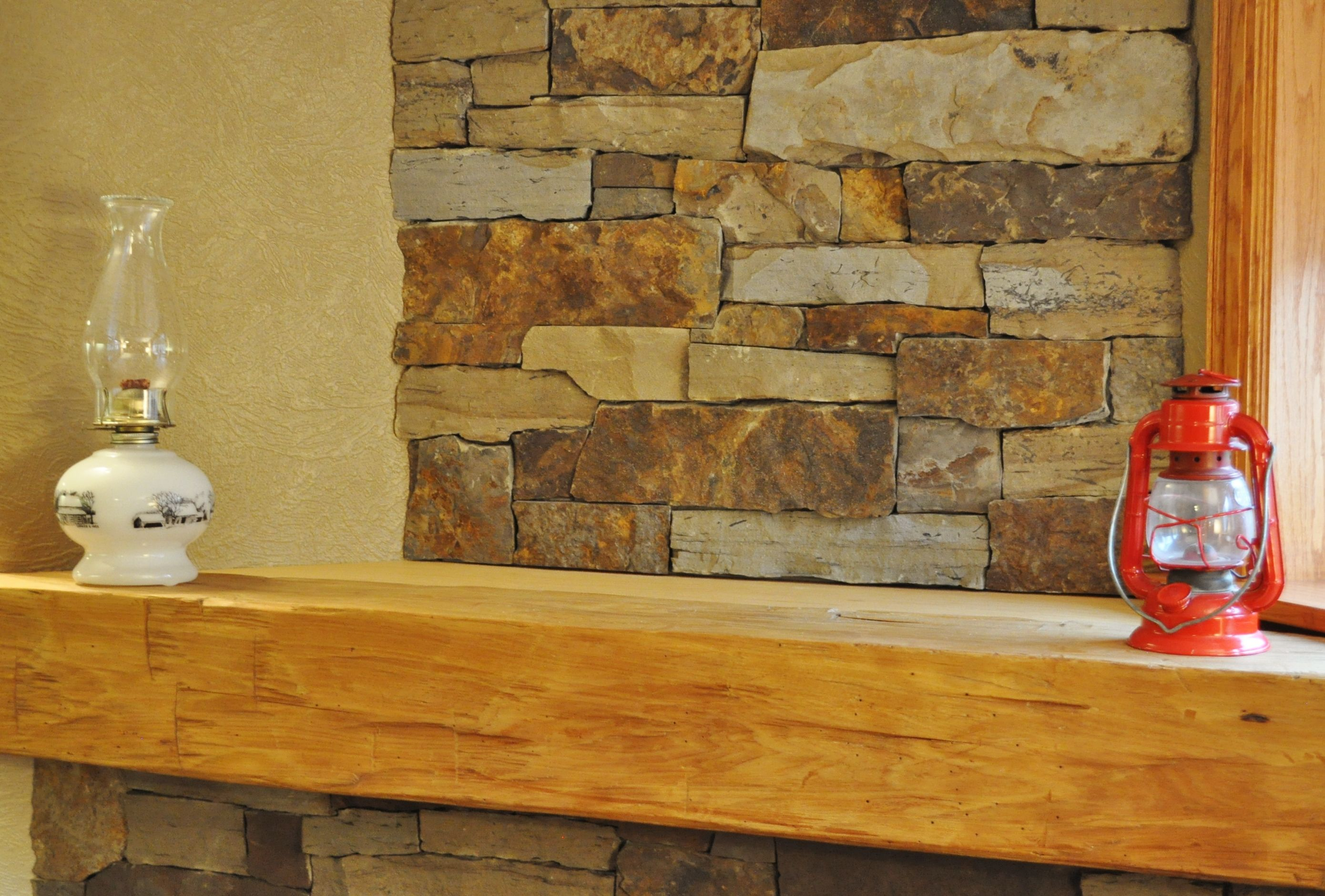 Decoration and stone backsplash mortarless home for Stone around fireplace