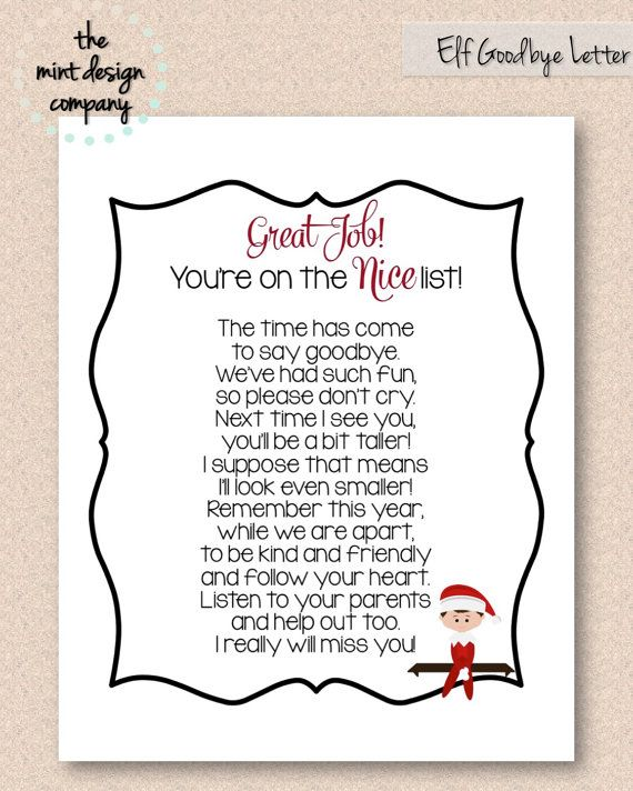 Elf on the Shelf Goodbye Letter Nice List Print by MintDesignCo