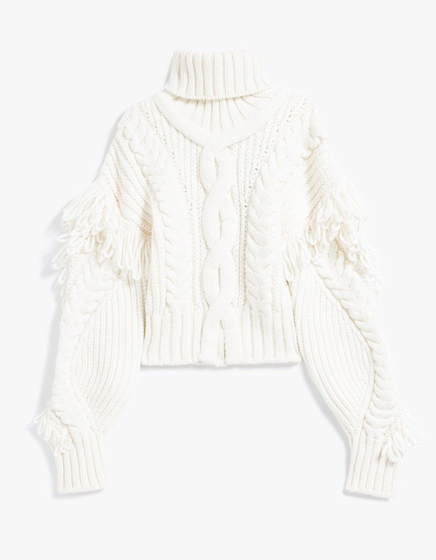 From Off-White, a heavyweight cable knit sweater in Off White ...