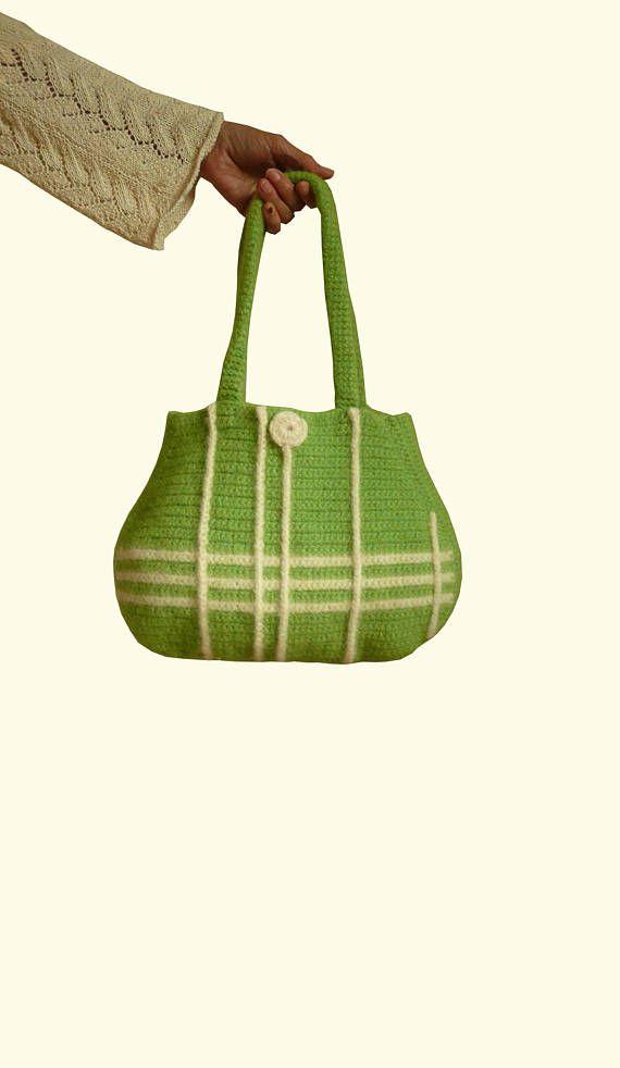 Handtasche gefilzt in grün Tasche Designertasche | Taschen gefilzt ...