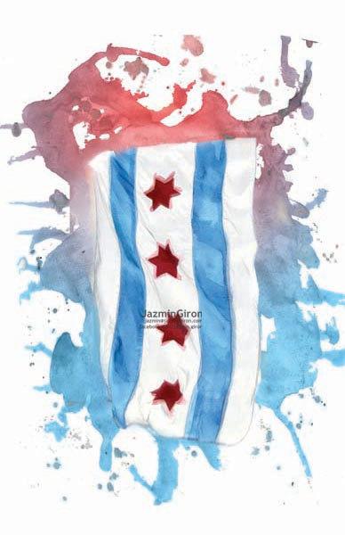 Chicago Pride Chicago Flag 36x24 24x18 13x19 Etsy Chicago Flag Chicago Tattoo Chicago Pride