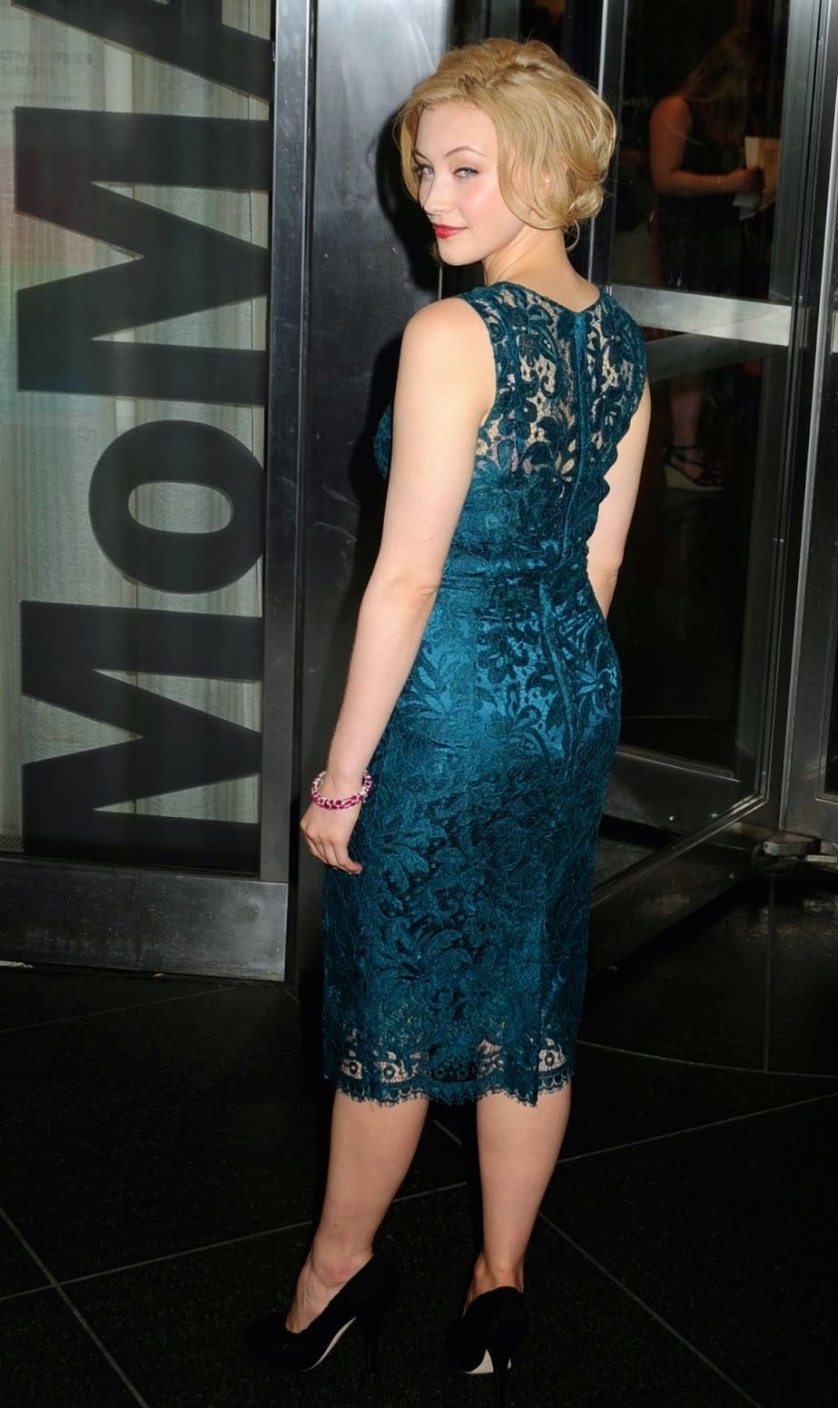 Sarah Gadon Classy Booty In A Blue Floral Satin Dress Celebrity