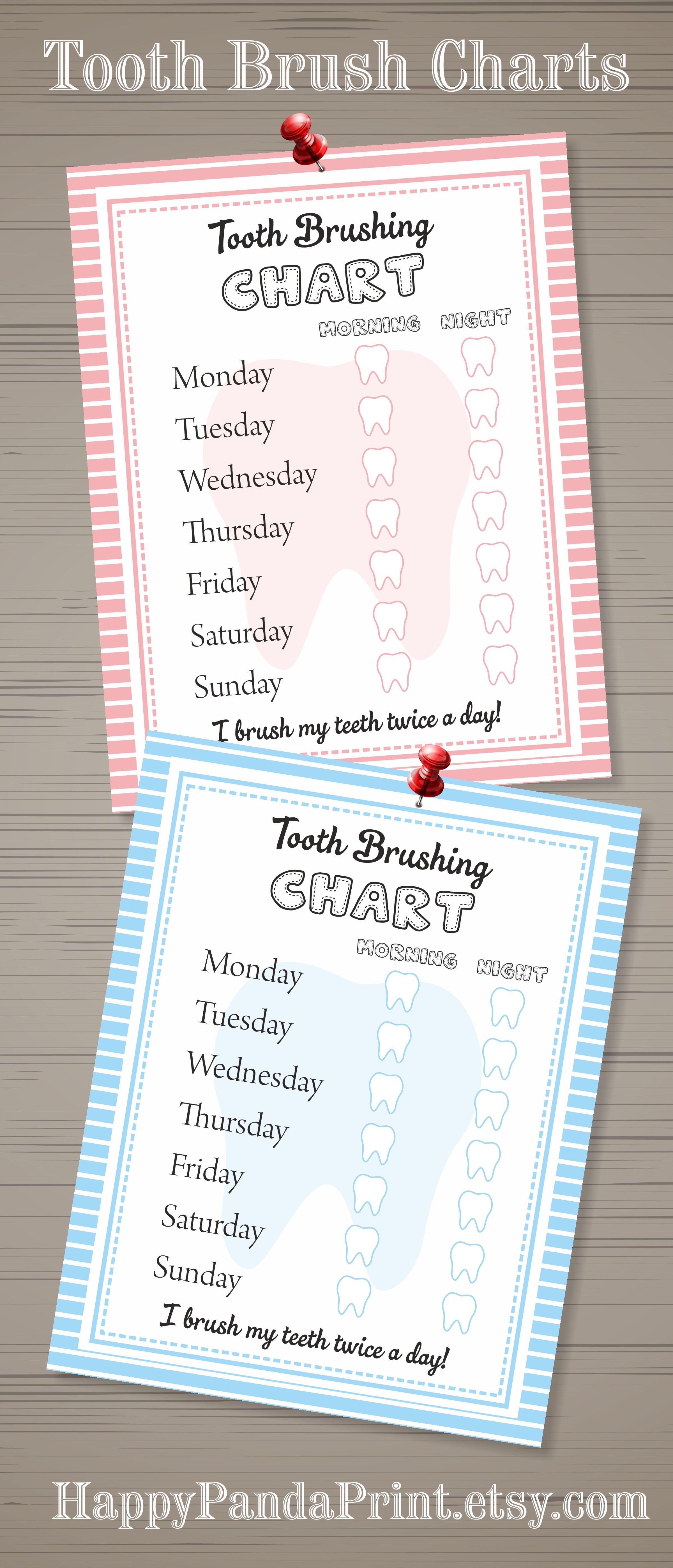 Girls Tooth Brush Chart Girls Tooth Brushing Chore Chart Child Tooth Brush Chore Chart Toddler