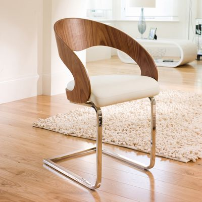 Curved Padded Dining Chair Walnut And White Furntiture