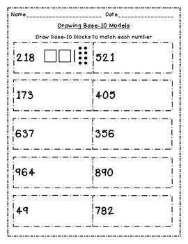Represent Numbers To 1 000 With Base 10 Block Drawings Base 10