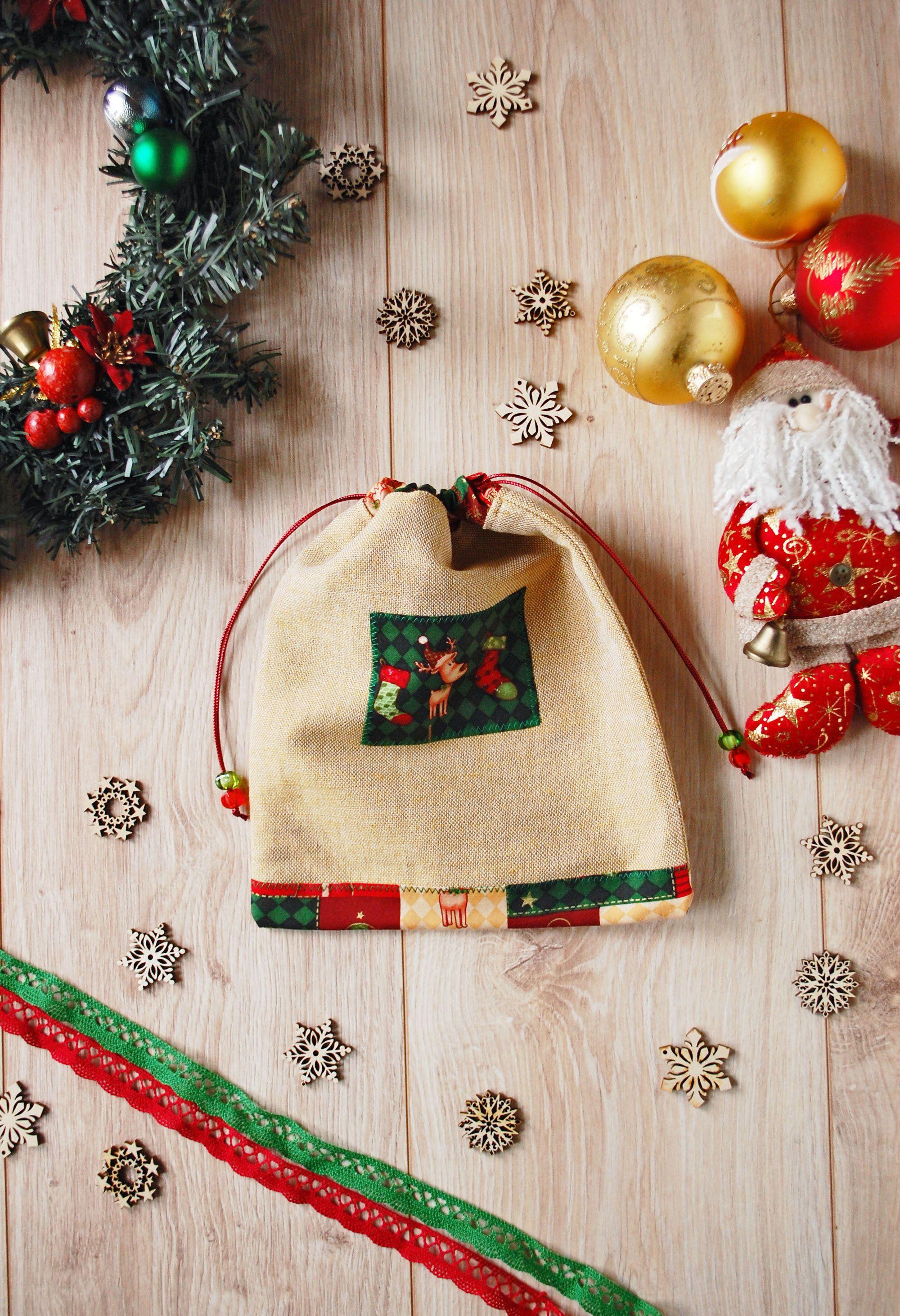 Linen Christmas Gift Bag with Santa\'s Reindeer in 2018   Handmade ...