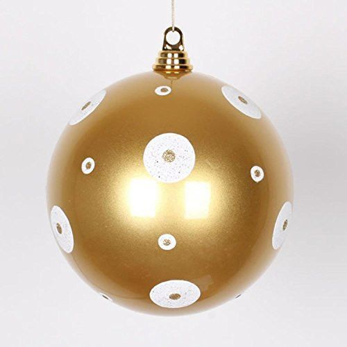 Felices Pascuas Collection Candy Gold with White Glitter Polka Dots Commercial Size Christmas Ball Ornament 8 inch (200mm)