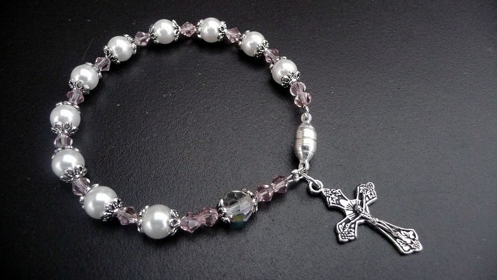 CZEC GLASS PEARL/CRYSTAL ANTIQUE SILVER ROSARY BRACELET