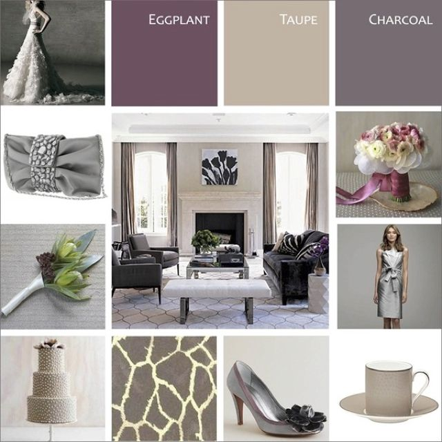 Add Taupe Or Champagne Color To Eggplant And Charcoal To Lighten And Enrich  The Color Scheme