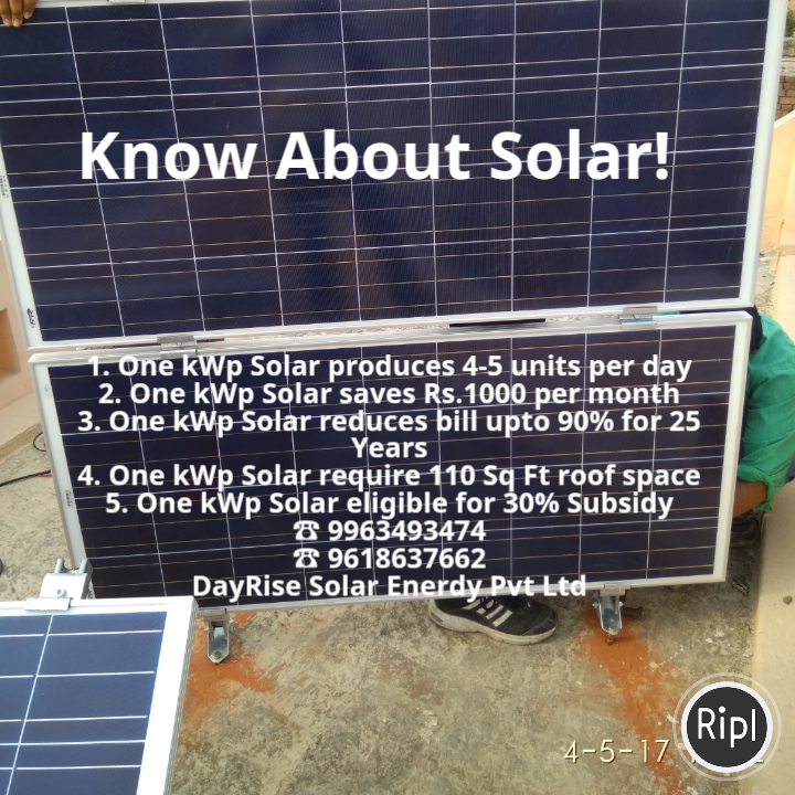 Know About Solar One Kw Solar Produces 4 5 Units Pd One Kw Solar Saves Rs 1000 Pm One Kw Solar Reduces Bill For 25 Yrs One Solar Reduce Bills Solar Energy