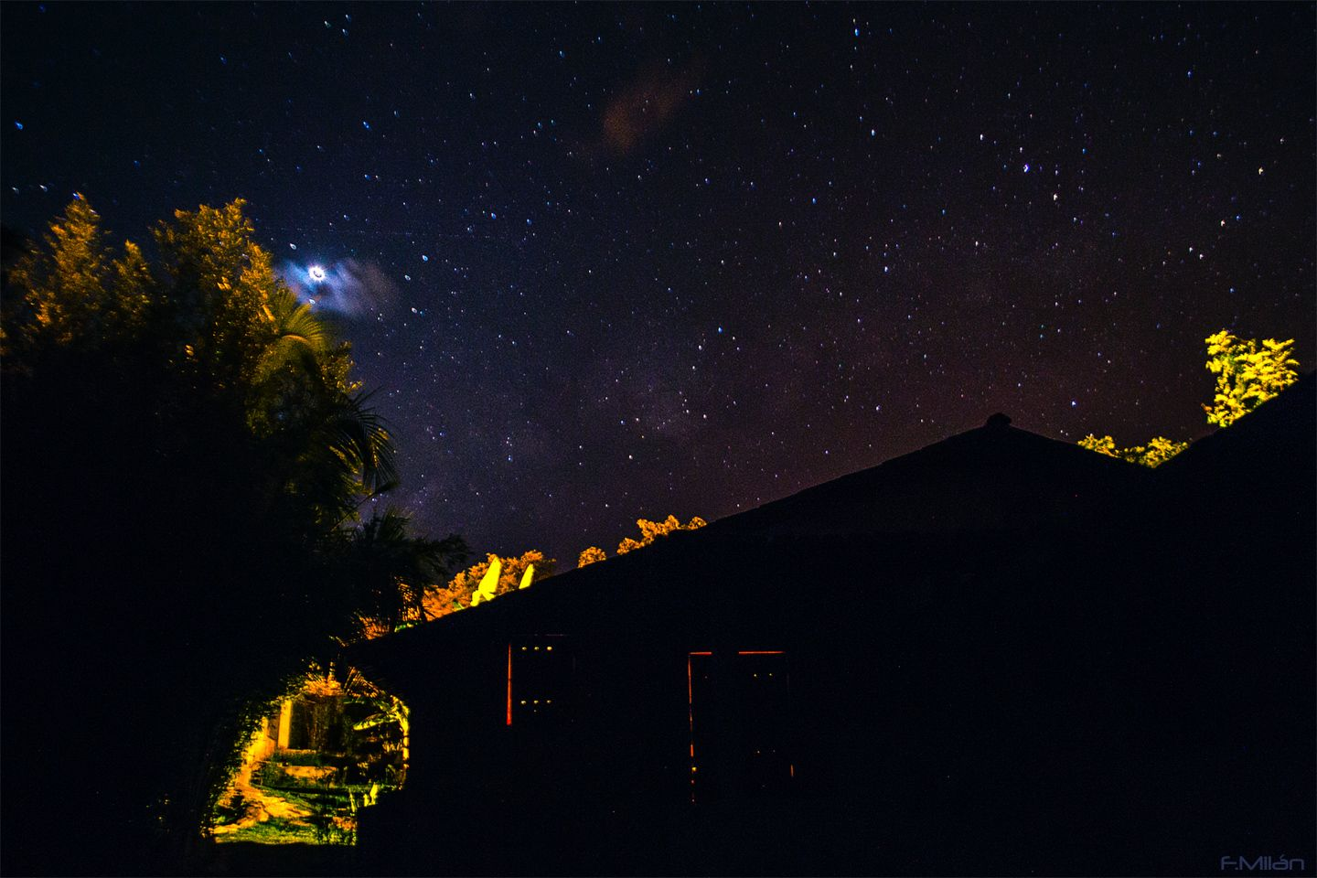 My house in Goias State - Brazil Venus is seen partially hidden by some passing clouds... Experimental night HDR