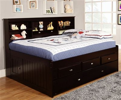 Best Espresso Full Size Bookcase Captain S Day Bed With Trundle 400 x 300