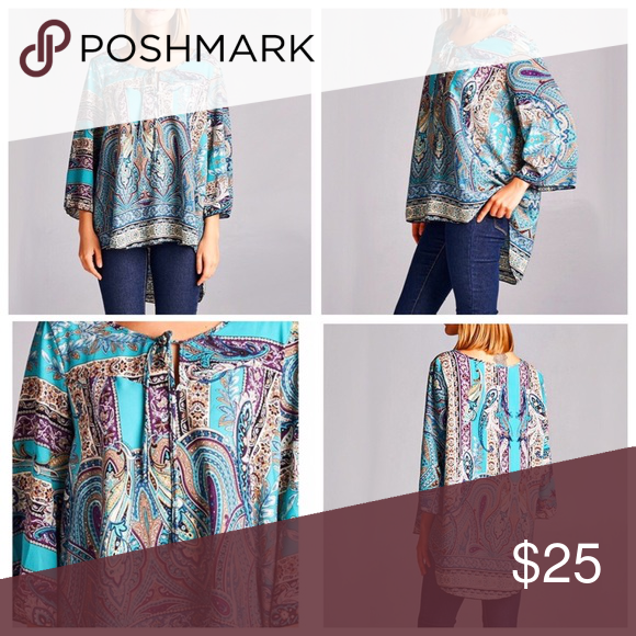 REPOSH Beautiful Bohemian Top no stretch Beautiful bohemian loose fitting top. 100% polyester. No stretch. Bust 45, front 26, back 30, sleeve 17. Size says large but can fit medium to large Tops Blouses