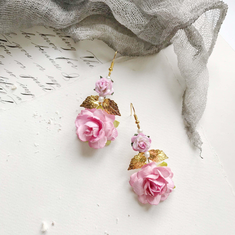 Blush Flower Earrings Rose Earrings Gold Leaf Earrings Flower Drop Earrings Floral Earrings Flower Earrings Vintage Earrings Gold Leaf Earrings Burgundy Earrings Etsy Earrings