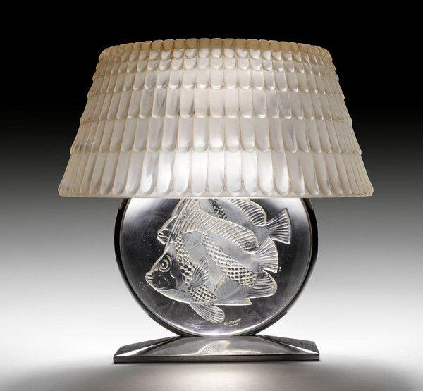 Lampe De Cheminee 1940 Decor Poissons Lalique Deco Luminaire Lalique Lampe Art Deco