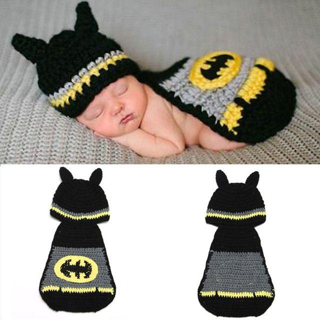 Neugeborenen Baby Batman Hut Häkelmuster Säuglings Fotografie Props ...