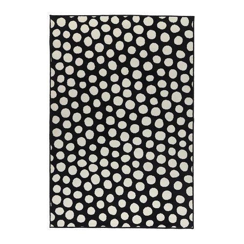 Ikea ULLGUMP Black/White Polka Dot Low Pile Area Rug Carpet New Item