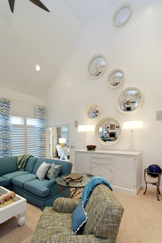 An Interesting Idea For How To Handle That Very Tall Wall In The Smallish Living Room With A Two Story Ceiling Garage Powder Multiple Round Mirrors
