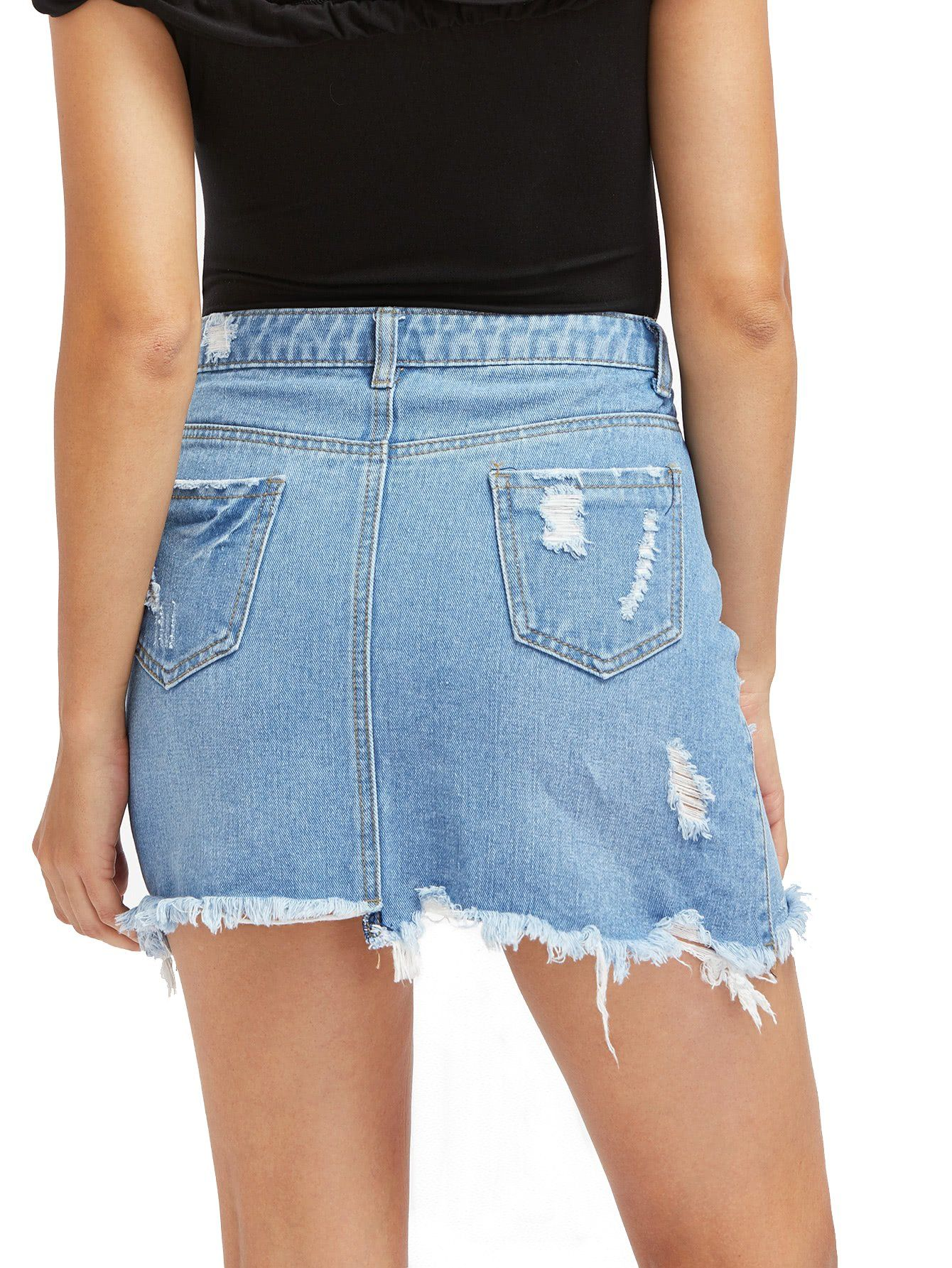 45a6e1cdc Verdusa Womens Casual Distressed Ripped ALine Denim Short Skirt ABlue*1 M  -- You can get more details by clicking on the image.-It is an affiliate  link to ...