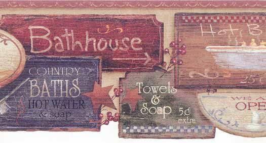 Farmhouse Bathroom Wallpaper Border