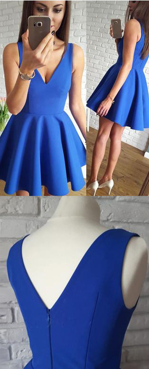 Royal blue a line vneck short homecoming dress with ruched mini